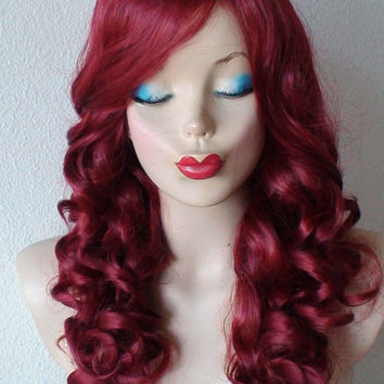 Halloween Special :)). Wine Red wig. Long side bangs curly wig. Heat resistant synthetic color wig.