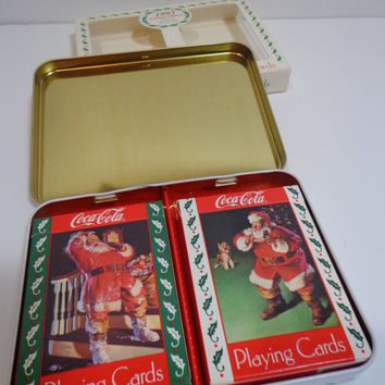 Vintage 1993 Coca Cola Nostalgia Collectible Playing Cards in Tin and Package, Retro Santa Claus Holiday Scene Gift, Stocking Stuffers