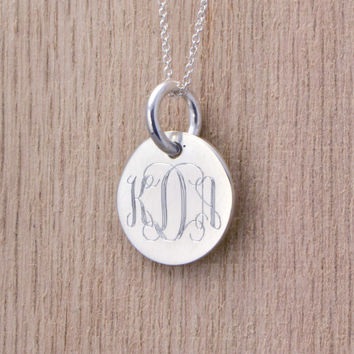 Easter Sale Monogramed Silver Pendant - Personalized Jewelry - Engraved Pendant - Personalized Necklace - Monogram Pendant