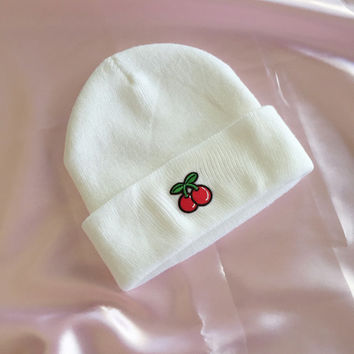 Embroidered Cherry Beanie Hat