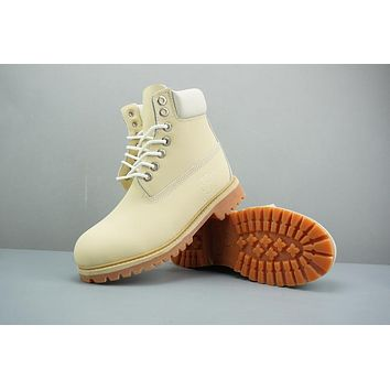 Timberland Leather Lace-Up Boot High Beige White
