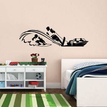 Vinyl Decal Sport Surfing Guy With A Surfboard On The Waves Boat Home Wall Decor Stylish Sticker Mural Unique Design for Any Room V742