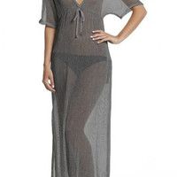 Gray Short Sleeve V-Neck Mesh Maxi Dress
