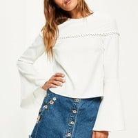 Missguided - White Flare Sleeve Button Detail Blouse