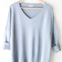 Oversized Knit Sweater - Dusty Blue