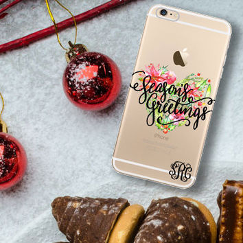 Christmas Iphone 6 case clear, Seasons Greetings Iphone 6 Plus case clear, Xmas stocking stuffer under 25 Unique Holiday Iphone case (1606)