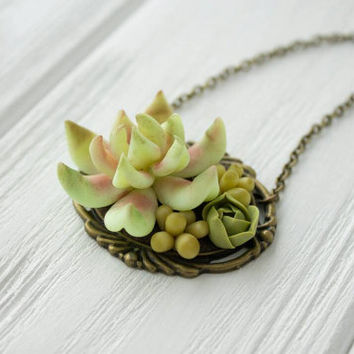 Pale Green Pink Succulent Necklace Pendant succulent plants Nut Shell Pendant Jewelry Succulent mother mom gifts