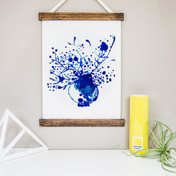 Flower Pot CANVAS Print WALL HANGING art of Original Botanical Watercolor painting Navy Home Decor wall art Blue pottery Indigo blue Art