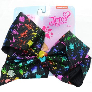 JoJo Siwa Signature Collection Hair Bow with All-Over - Multicolored Large Cheer (Paint Splatter Black)