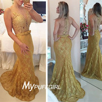 2016 Gold Lace Plunging V Neck Mermaid Prom Dress With Sheer Back