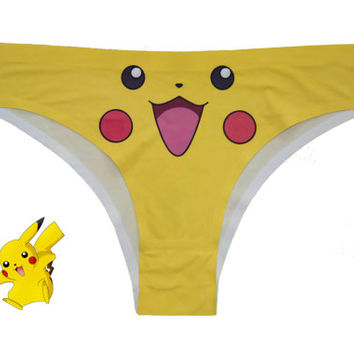 Pikachu Pokemon Panties - Pikachu Knickers - Pokemon Underwear - Cute Yellow Pikachu -