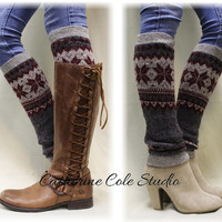 CUDDLY CASHMERE blend grey knit snowflake super soft womens legwarmers for boots leggings snowflake leg warmers Catherine Cole Studio LW8