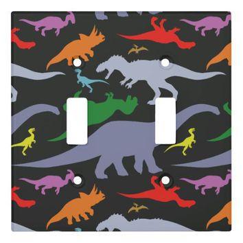 Colorful Dinosaur Pattern (Dark) Light Switch Cover