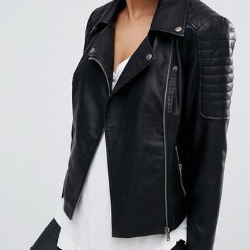 Noisy May leather look jacket at asos.com