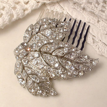 1920s Art Deco Art Nouveau Vintage Pave Rhinestone Silver Leaf Bridal Hair Comb Antique Crystal Dress Fur Clip to Wedding Accessory GATSBY