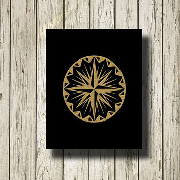 Compass Rose Gold Black Printable Instant Download Print Poster Wall Art Home Decor G163b