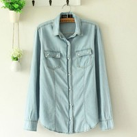 Slim Retro Light Color long Sleeve Denim Shirt
