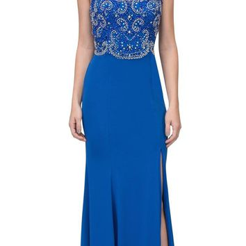 Royal Blue Beaded Bodice ITY Long Prom Dress with Slit