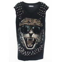 Street Style Rivet Black T-shirt(Coming Soon) [NCTI0064] - $33.99 :