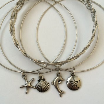 Beach Themed Silver Charm Alex and Ani Inspired Bangle Bracelets - Set of Five: Sand Dollar, Starfish, Dolphin, and Seashell