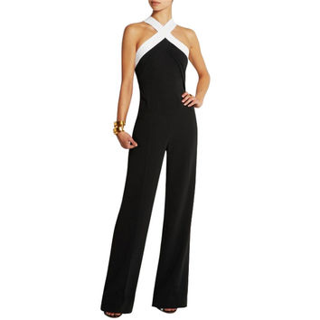 5 Colors New Women Sexy Sleeveless Playsuits Jumpsuit Bandage Bodycon Romper Trousers Pant Clubwear Overall Black Coveralls