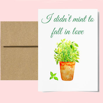 I Didn't Mint To Fall In Love // Love Greeting Cards // Cute Witty Funny Clever Ways To Say I Love You To Your Boyfriend / Gifts For Him
