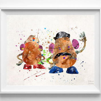 Mr and Mrs Potato Print, Toy Story, Disney Poster, Pixar Print, Watercolor Art, Gift, Baby, Christmas, Nursery Room, Back To School