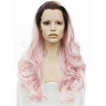 """26"""" Curly Rooted Pastel Pink Ombre Lace Front Synthetic Wig"""