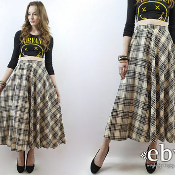 Plaid Maxi Skirt 70s Maxi Skirt Plaid Skirt Black Plaid Skirt Cream Plaid Skirt High Waisted Skirt High Waist Skirt 90s Grunge Skirt S M