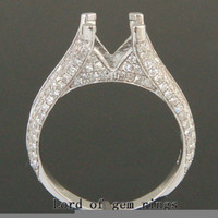 7.5mm Round Cut 14KT White Gold Pave 1.15CT Diamonds Engagement Semi Mount Ring