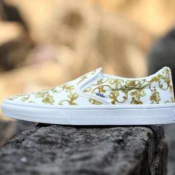Vans Slip-On Print Old Skool Canvas Flat Sneakers Sport Shoes