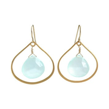 Aqua Chalcedony Dangle Earrings