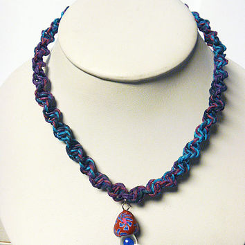 Purple Haze  Hemp Necklace with Fimo Glass Mushroom handmade macrame jewelry    hippie  unisex