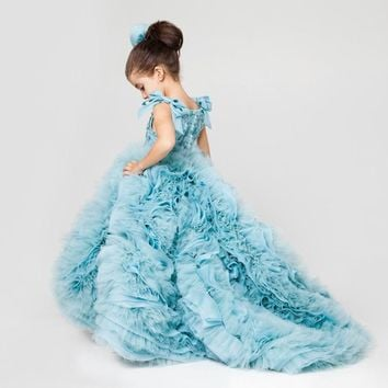 Mint Blue Luxury Little Girls Ball Gown Pageant Dress Tiered Puffy Tulle Sweep Train Luxury Flower Girl Dress for Wedding Party
