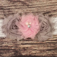 Gray and Pink Tulle and Lace Baby Girl Headband!