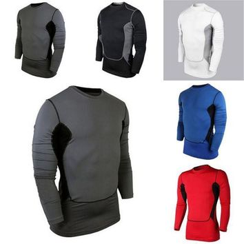 PEAPFS2 2018 New Compression Base Cozy Men's Layer Sports Wear Long Sleeve Blouse Athletic Man Tops Gear Jersey