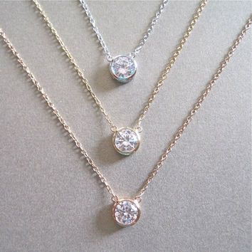 Solitaire Diamond Necklace - Diamond Necklace - Floating Diamond - Gold Necklace - Silver Necklace