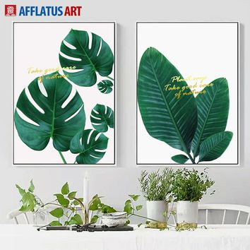 Monstera Big Green Leaves Wall Art Canvas Painting Posters And Prints Nordic Minimalism Wall Pictures For Living Room Wall Decor