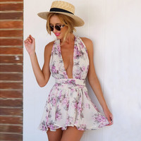 Violet Floral Sleeveless Backless Chiffon Pleated Rompers