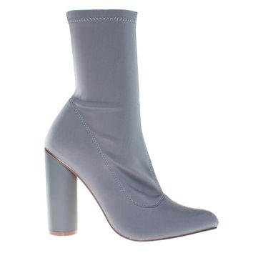 Elssa1 Gray By X2B, Pointed Toe Ankle booties W Stretchy Upper & Rounded Block Heel