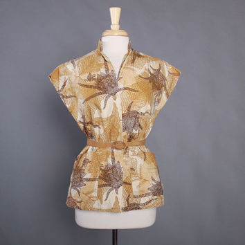 50s HAWAIIAN Tea Timer BLOUSE / 1950s KAMEHAMEHA Tropical Print Floral Top S