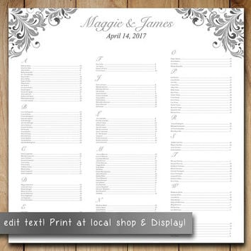 "Wedding Seating Chart Template Download | Heather Gray Charcoal Silver  ""Maggie"" Word Template 
