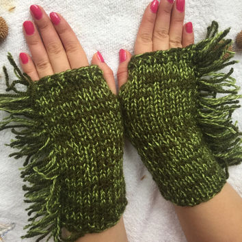 Hand Knitted Fingerless Gloves, Female green gloves , mother's day, fringed gloves,Turkish handicrafts, Gift Ideas, Winter Accessories,