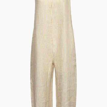 Capri Thin Strap Jumpsuit - Loir Tan & White Stripe Print