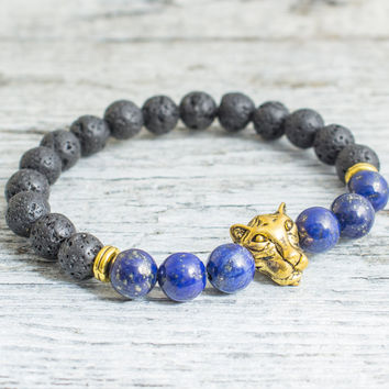 Black lava stone beaded gold Leopard head stretchy bracelet with lapis lazuli beads, yoga bracelet, mens bracelet, womens bracelet
