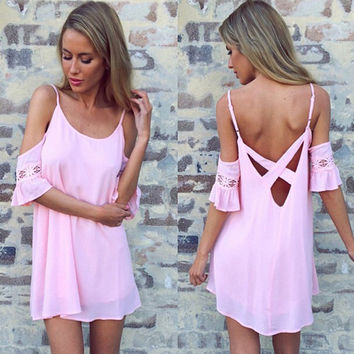 Sexy backless strapless short sleeves dress