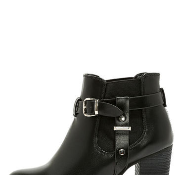 Buckle-ham Palace Black High Heel Booties