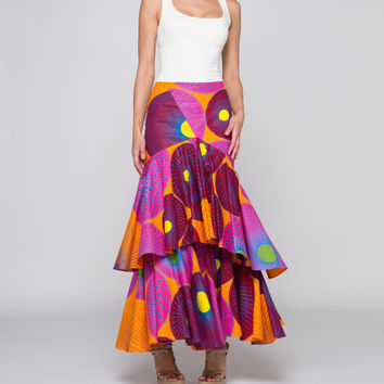 Colorful Layered Ruffle Skirt
