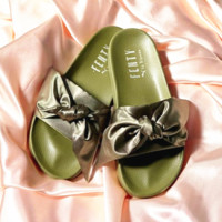 PUMA fenty rihanna silk slides sneakers-spring-Bow Slide Sandals Shoes (10-color) Army green