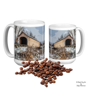 Vermont Mug - Vermont Covered Bridge - Vermont Art - Vermont Coffee - Winter scene Mug - Winter Covered Bridge - Vermont Gifts